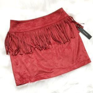 Express Suede Fringe Festival Mini Skirt in Rust